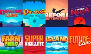 8款游戏主题艺术字设计PSD模板