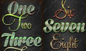 10款宝石纹理和防滑板PS字体样式