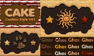 逼真的饼干和蛋糕艺术字PS样式