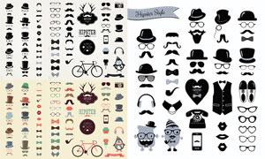 帽子眼镜Hipster风格元素矢量素材