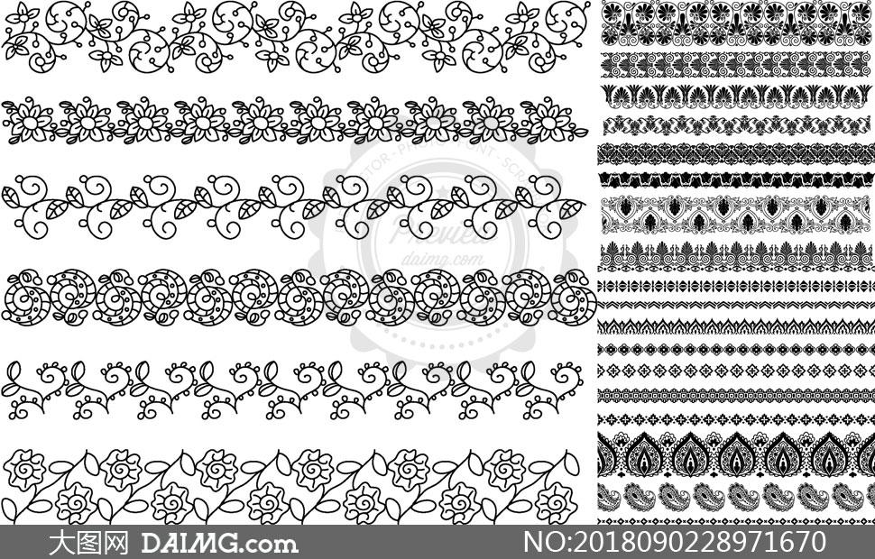 黑白花纹图案装饰的分隔线矢量素材