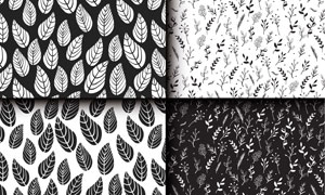 黑白效果手绘创意树叶图案矢量素材