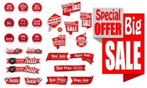 商品促销适用红色标签贴纸矢量素材
