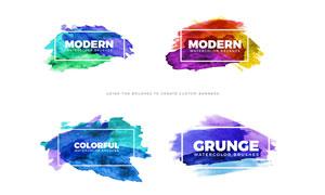 鲜艳水彩元素涂抹效果背景矢量素材