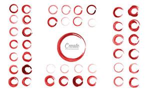 红色圆形墨迹笔触创意元素矢量素材