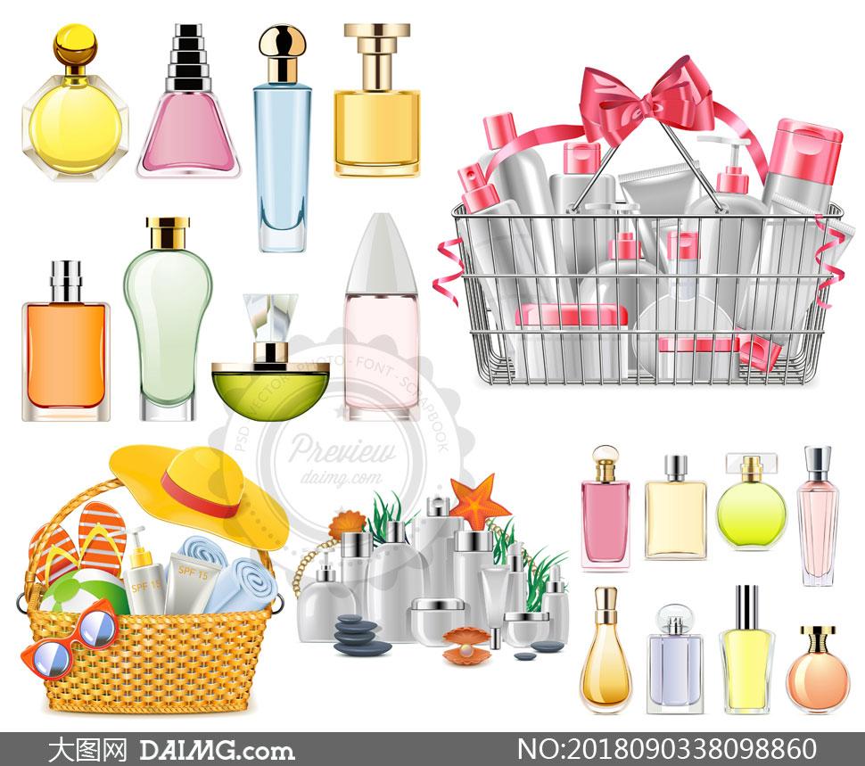 墨镜香水与护肤品物品主题矢量素材