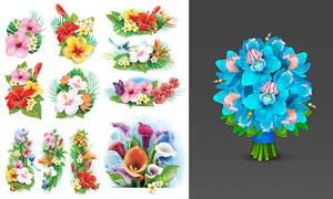 鲜艳逼真质感效果花朵主题矢量素材