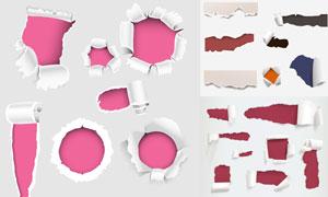 撕開并產生破洞的紙張創意矢量素材