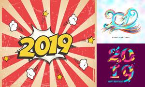 2019猪年份数字创意设计矢量素材