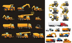 拖拉机牵引车等工程车主题矢量素材
