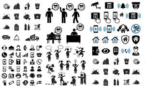 手机电话与人形等黑白图标矢量素材