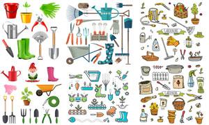 水桶与铁铲等园艺工具设计矢量素材