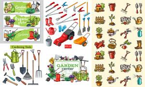 除草机与小推车等园艺工具矢量素材