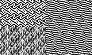 黑白抽象样式四方连续图案矢量素材