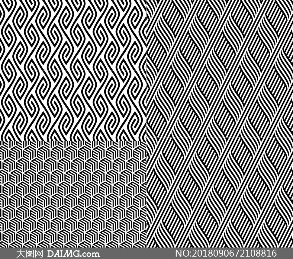 黑白抽象样式四方连续图案矢量素材 - 大图网设计素材