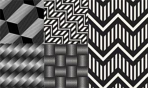黑白几何抽象图案设计创意矢量素材