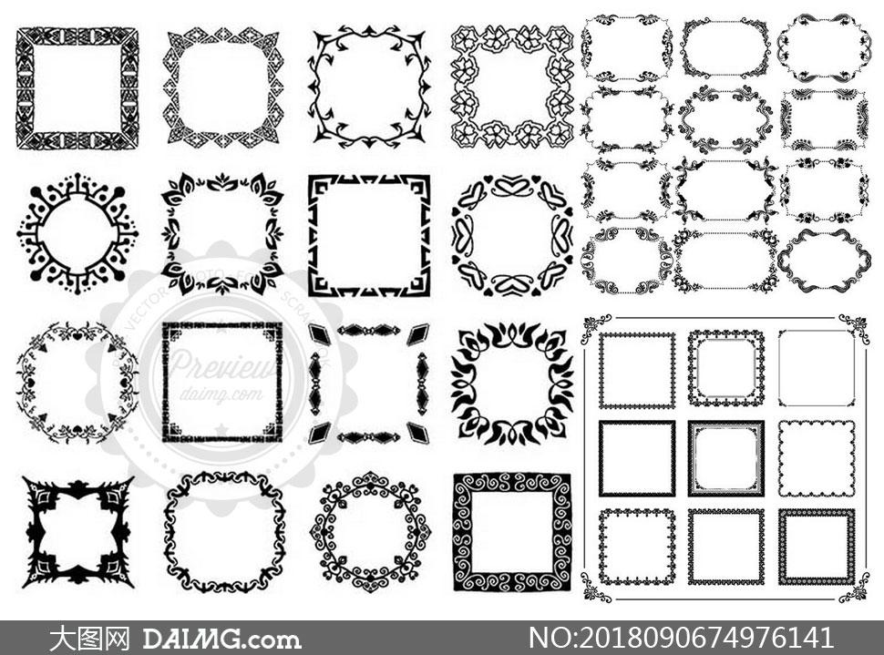 黑白古典风格花纹边框主题矢量素材