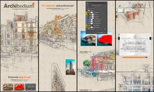建筑物手绘和草图艺术效果PS动作V3