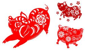 猪年适用喜庆剪纸创意设计矢量素材