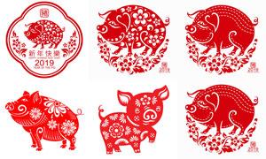 猪年红色喜庆效果剪纸设计矢量素材