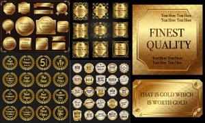 金色標簽與花紋瓶貼等設計矢量素材
