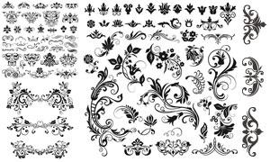 黑白图案与藤蔓植物花纹等矢量素材