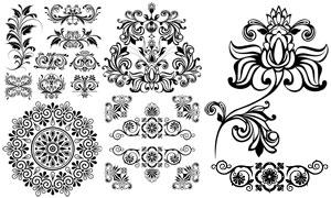 复古怀旧风黑白花纹图案等矢量素材