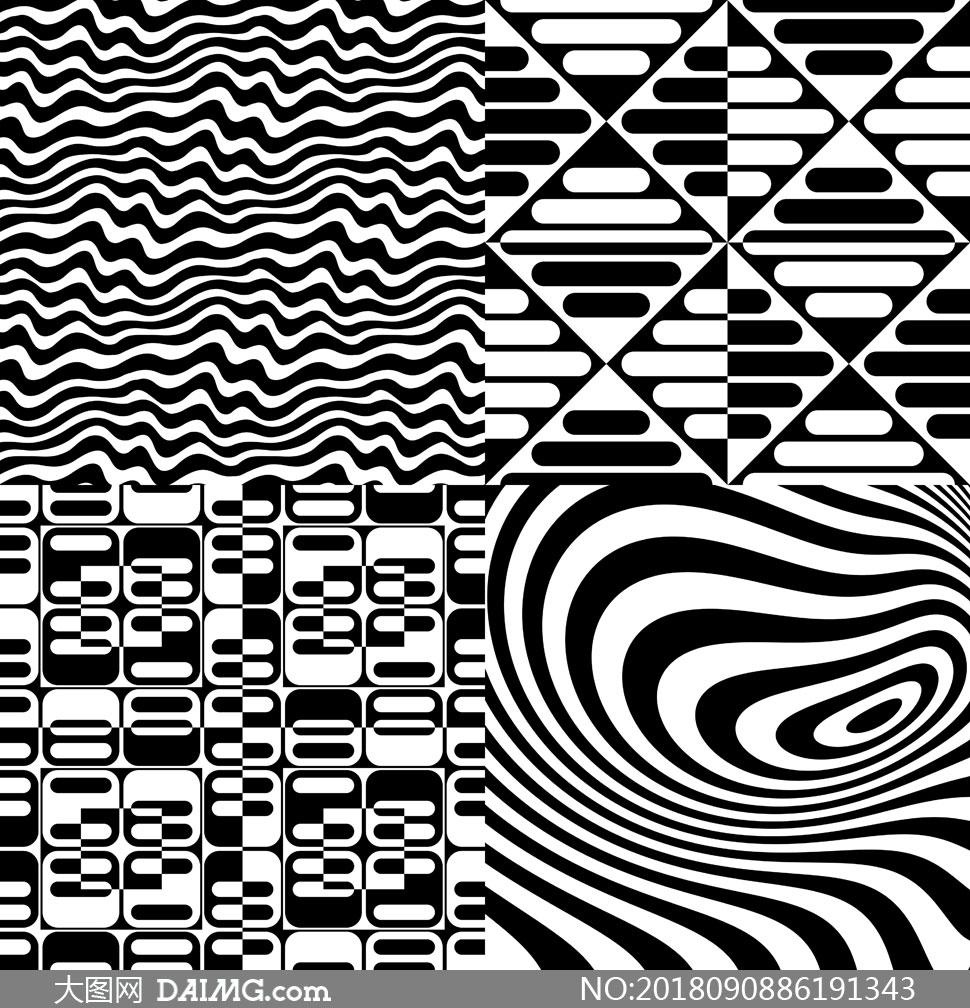 黑白抽象效果图案创意设计矢量素材