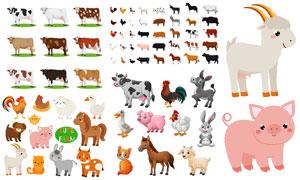 公鸡奶牛与猫咪小狗等动物矢量素材