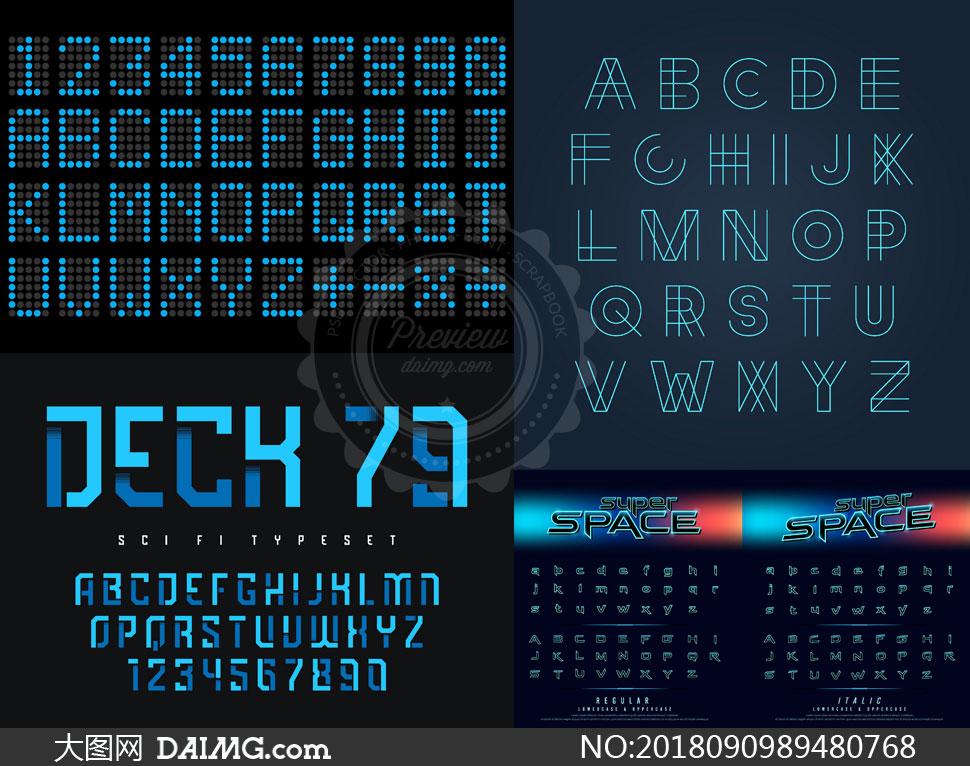 点阵样式与立体效果的字母矢量素材