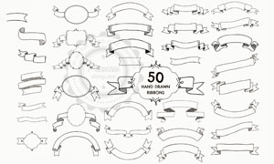 手绘素描风格飘带设计元素矢量素材