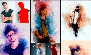水彩涂鸦和杂乱线条背景PS动作