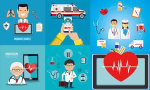 救护车与医护工作者等人物矢量素材