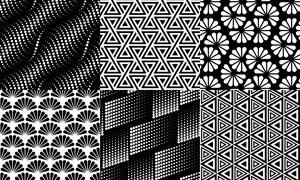 黑白图案平面构成创意设计矢量素材