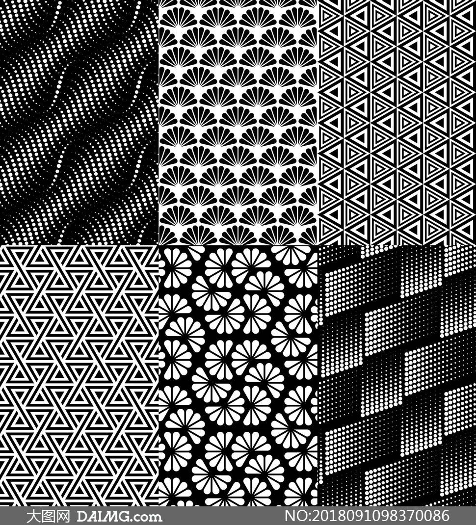 创意设计无缝底纹无缝背景四方连续平铺背景黑白图案平面构成无缝拼贴