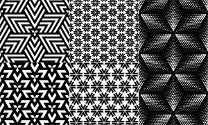 黑白几何图形无缝拼接背景矢量素材