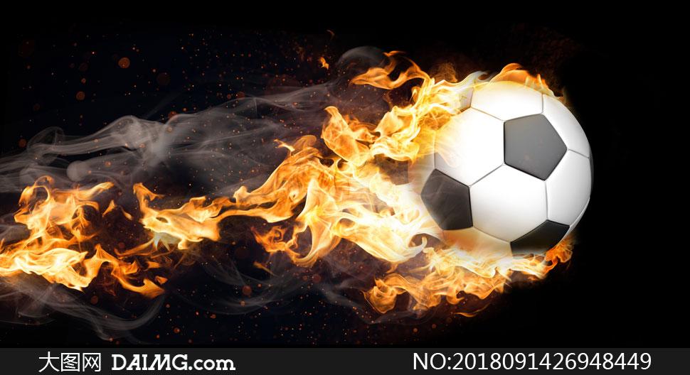 带火苗的足球创意视觉设计高清图片
