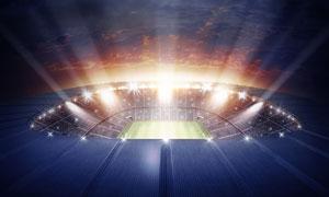 灯火辉煌的体育场夜景摄影高清图片