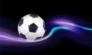 足球与缤纷绚丽的曲线创意高清图片