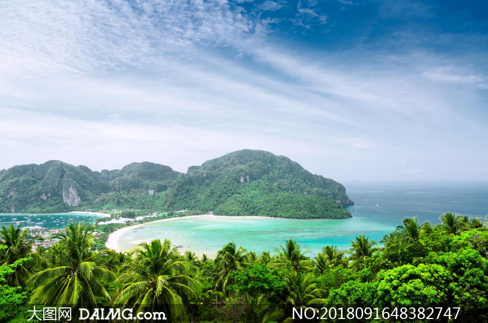 蓝天白云海景树丛风景摄影高清图片