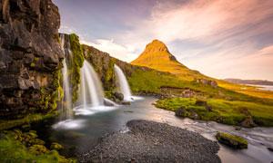 天空白云山丘瀑布风景摄影高清图片