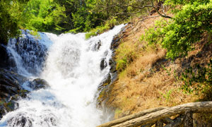 景区里小桥对面的瀑布摄影高清图片