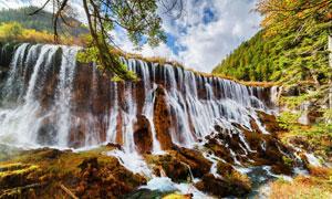 蓝天白云山水瀑布风光摄影高清图片
