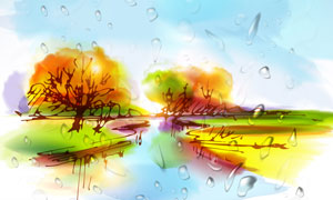 河两岸的树木水彩绘画创意高清图片