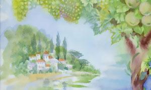 葡萄藤与树木房屋主题绘画高清图片
