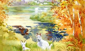 湖畔城堡山羊水彩绘画创意高清图片