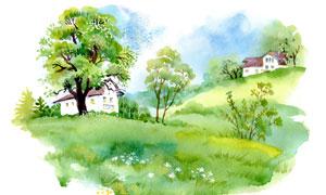 山坡上的房子与树木水彩画高清图片