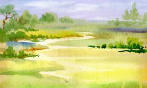 水彩风格草丛树木绘画创意高清图片
