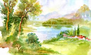 树木房子湖光山色绘画创意高清图片