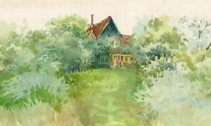掩映在树丛之中的房子绘画高清图片